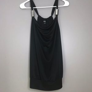 BCX Black Silky Tank Top with Silver Accent Beads